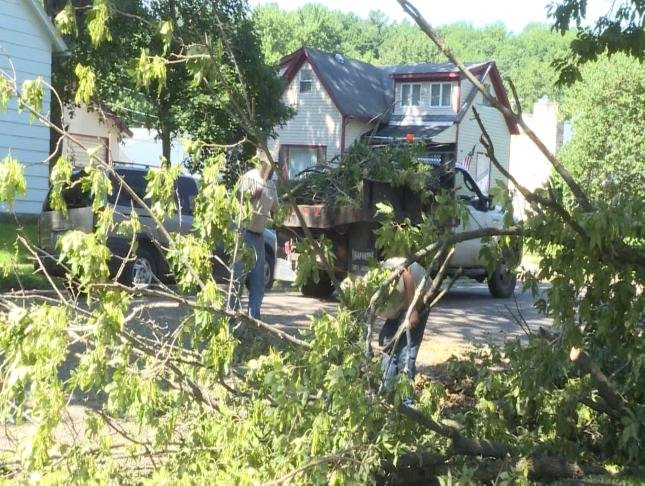People work to clean up trees in Canton, Missouri, Tuesday.