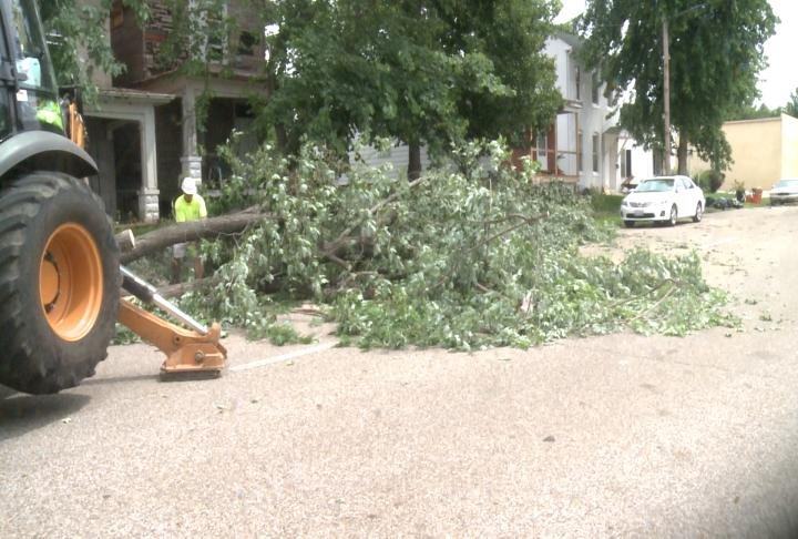 Crews work to clear a tree on South 10th Street in Quincy.