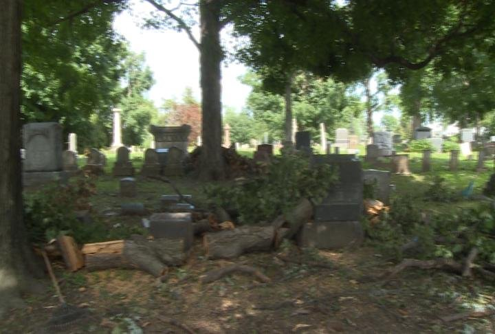 No place was safe from the storm damage, even cemeteries around Quincy were devastated with toppled headstones, trees and debris covering the driveways.