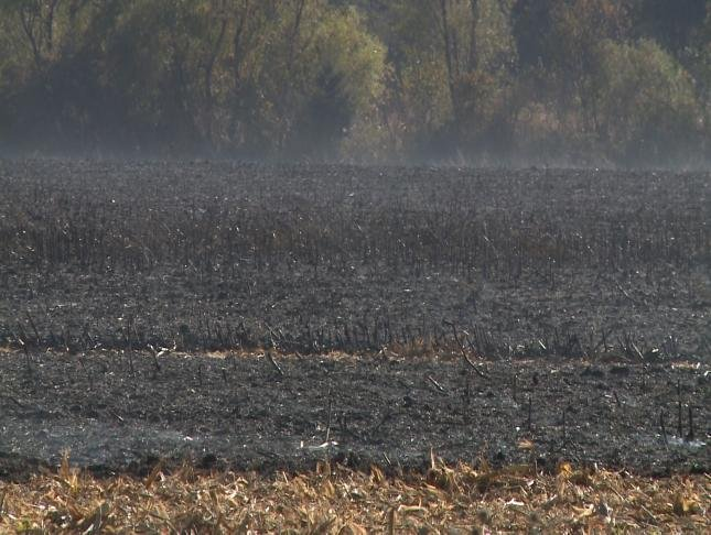 A field smokes after burning Wednesday afternoon.