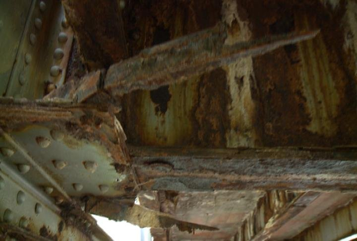 A snapped brace under the Lost Creek Road Bridge, one of the worst in Lee County, Iowa, according to engineers.