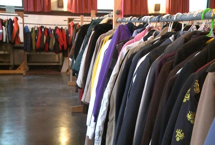 Coats lined up at the Masonic Temple Saturday morning for those in need.