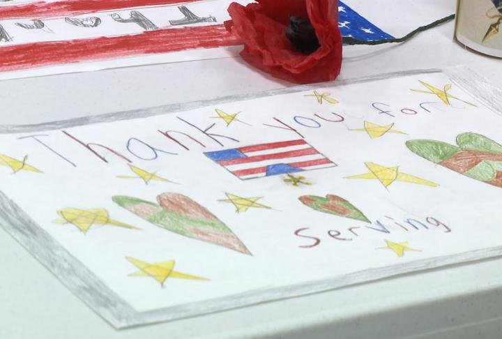 Placemat at lunch for vets at Camp Point Junior High.