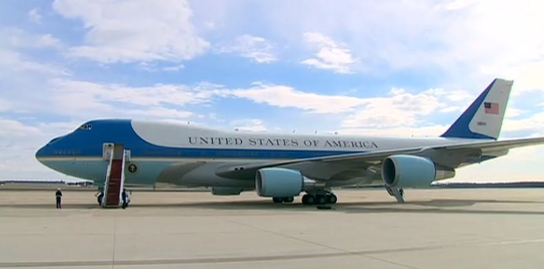 Air Force One sits on a runway ready to take off for Springfield, Illinois, Wednesday morning.