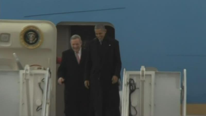 President Obama steps off Air Force One as he arrives in Springfield Wednesday morning.