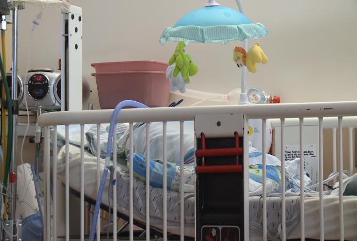 A cradle in a NICU unit.