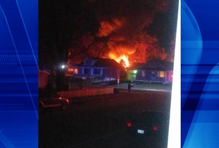 Photo of flames from the garage fire on 1325 N. 4th Street. (Photo from Missy Rife)