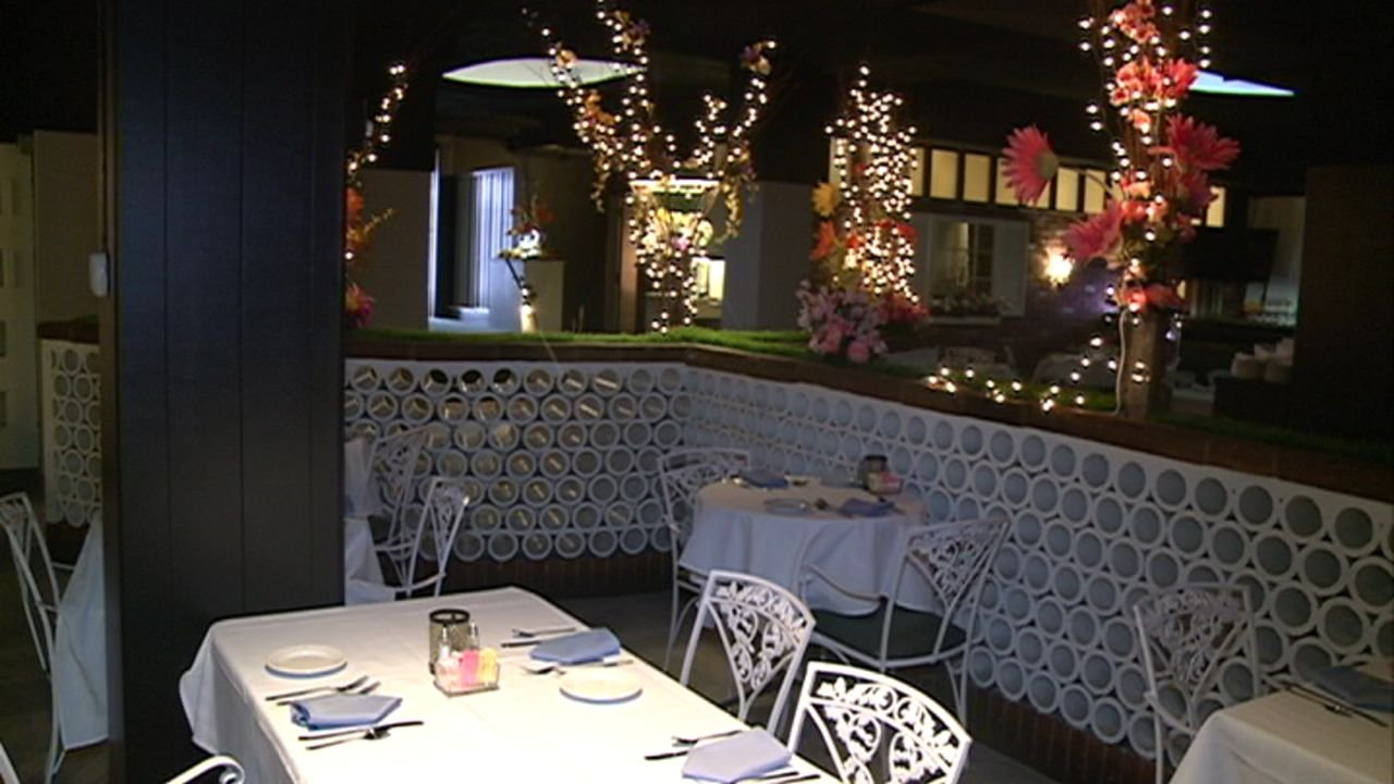Nice A Table Inside The Patio Is Set And Ready To Go For Its Opening Wednesday  Evening