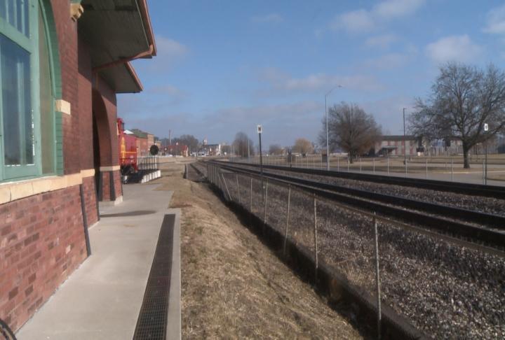 Sidewalk at the Santa Fe Depot.