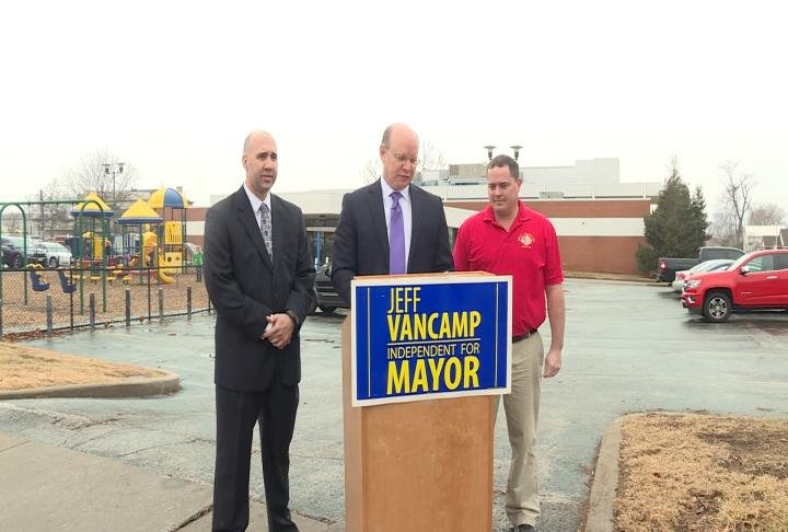 Representative for both Quincy Fire and Police Departments show support of mayoral candidate Jeff VanCamp
