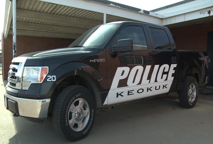 Keokuk police vehicle outside the office.