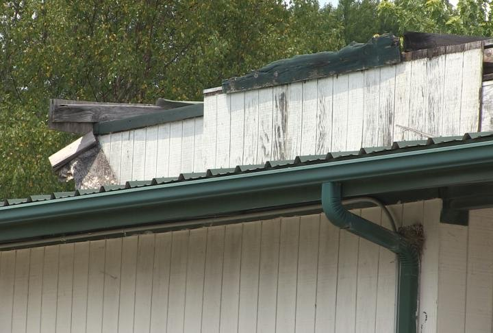 Damage to the rooftop.