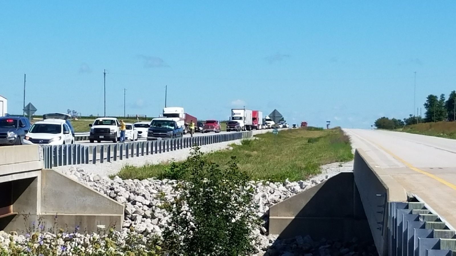 Traffic backed up near the crash site.