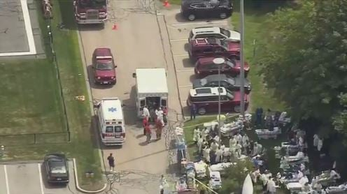 Aerial look at the evacuation.