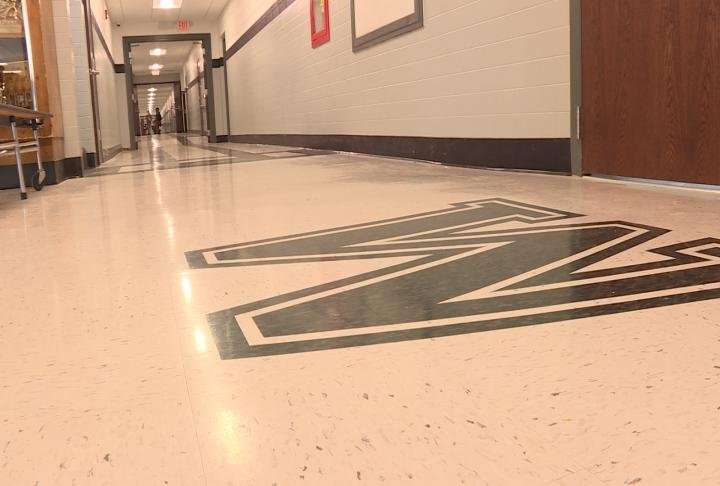 The new flooring inside the school
