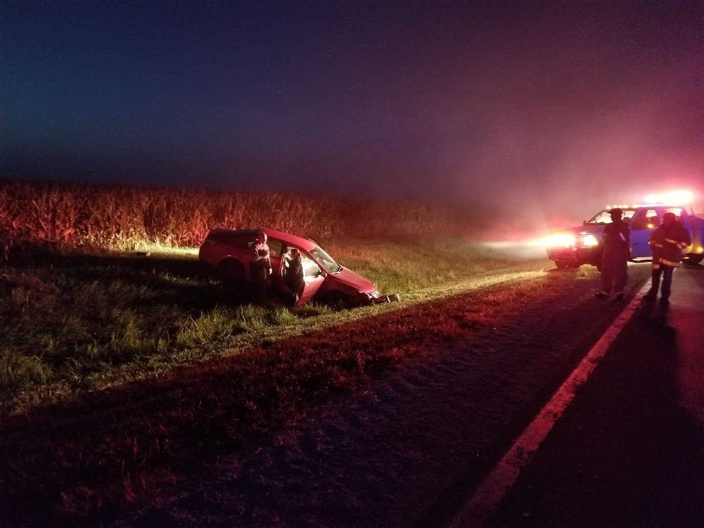 Police talk to a driver at the crash scene. (Submitted photo)