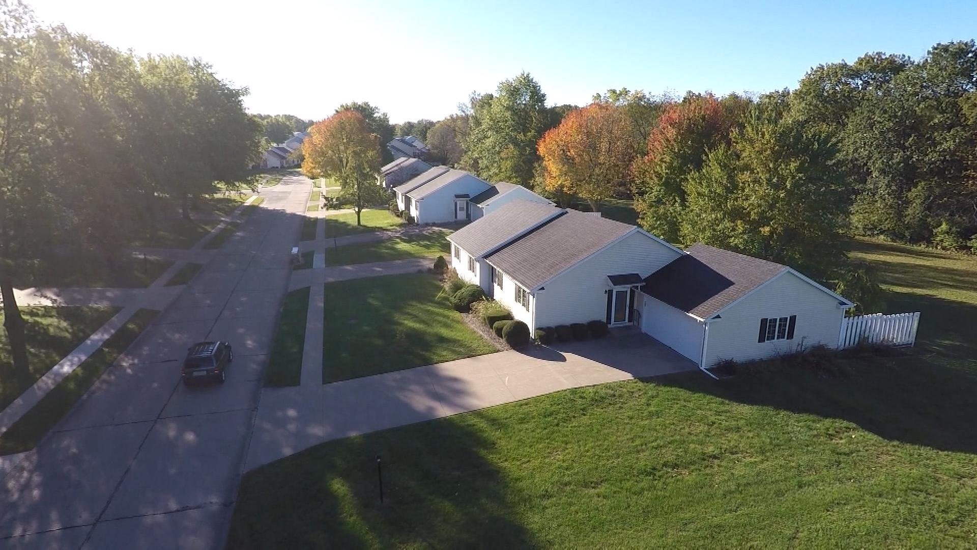 An aerial view from the WGEM News drone of the Georgetown subdivision, just outside  Macomb city limits. The subdivision has more than a dozen townhomes up for sale.