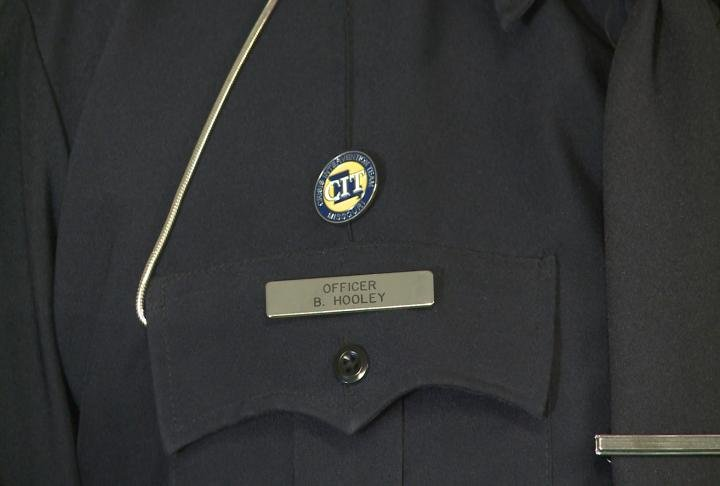 Brian Hooley of the La Grange Police Department wears his Crisis Intervention Team badge.