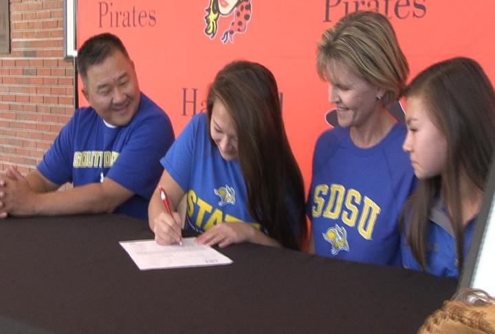Hannibal record breaking infielder Olivia Pfeifer signed her national letter of intent with SDSU softball Wednesday afternoon.