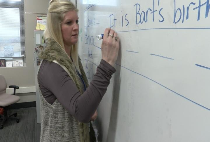 Teacher writing on the board