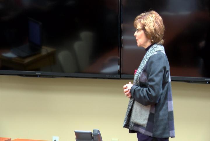 Ada Bair leading the presentation at Memorial Hospital.