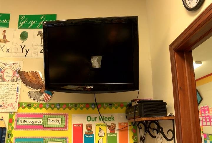 Tv smashed in the classroom.