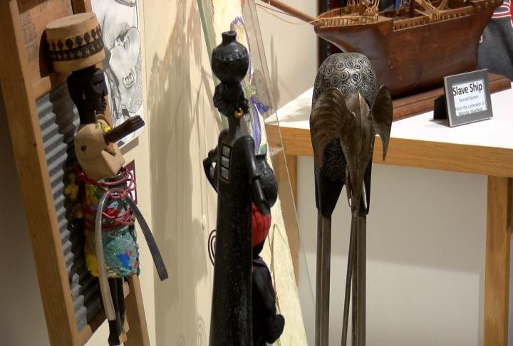 Sculptures displayed at the exhibit for Black History Month.