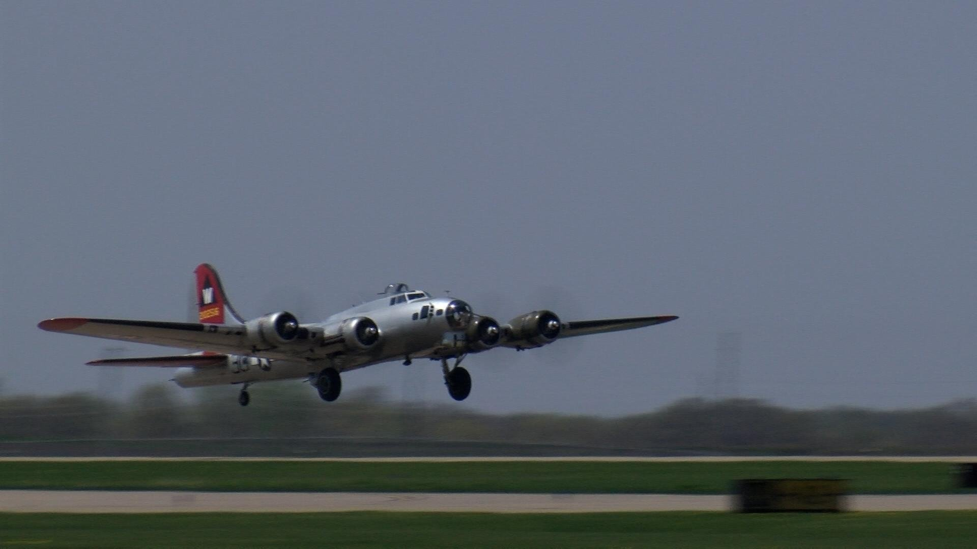 """""""Aluminum Overcast"""" comes in for a landing."""