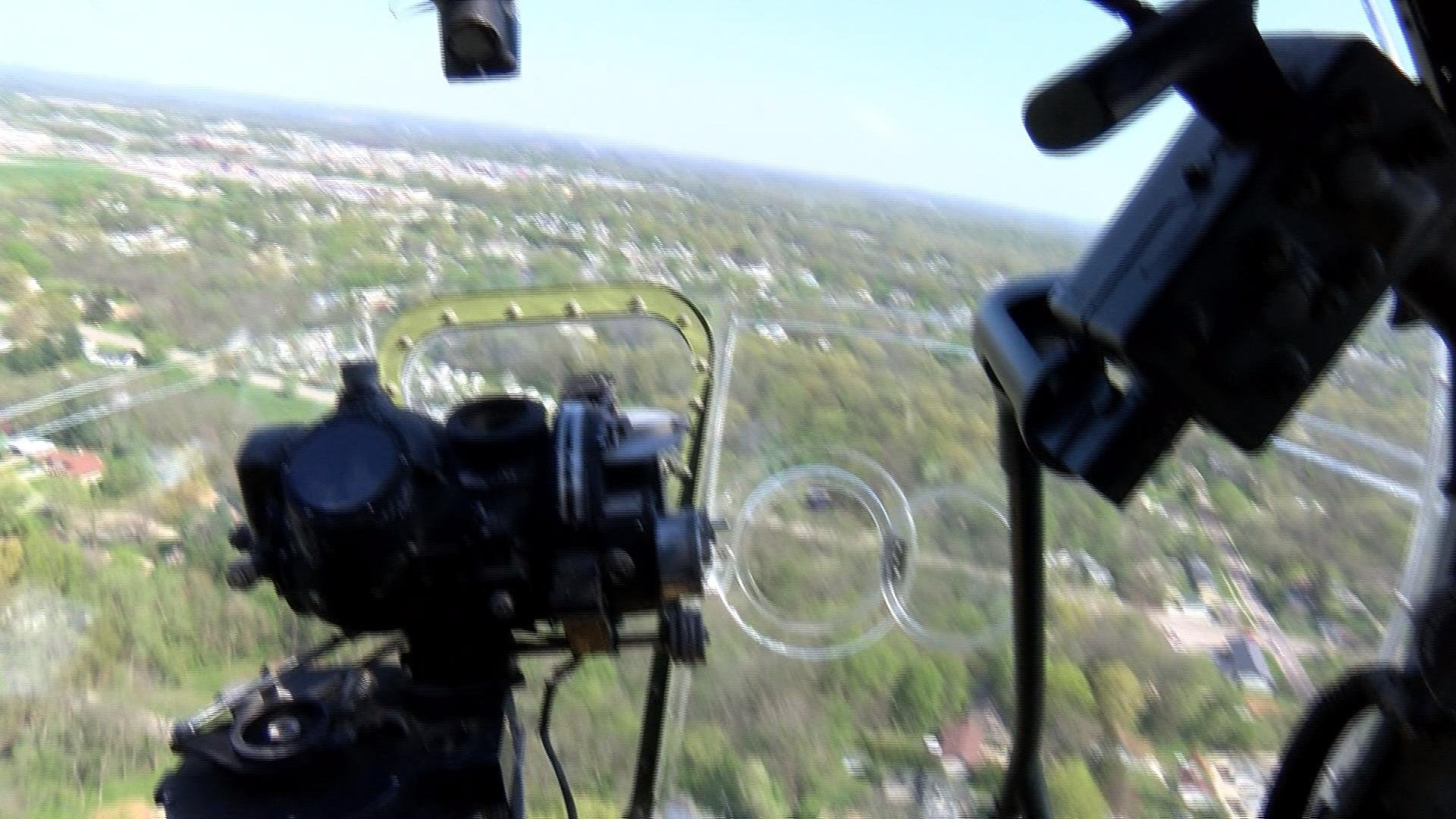 A view from the nose of the B-17 where the bombardier would sit.
