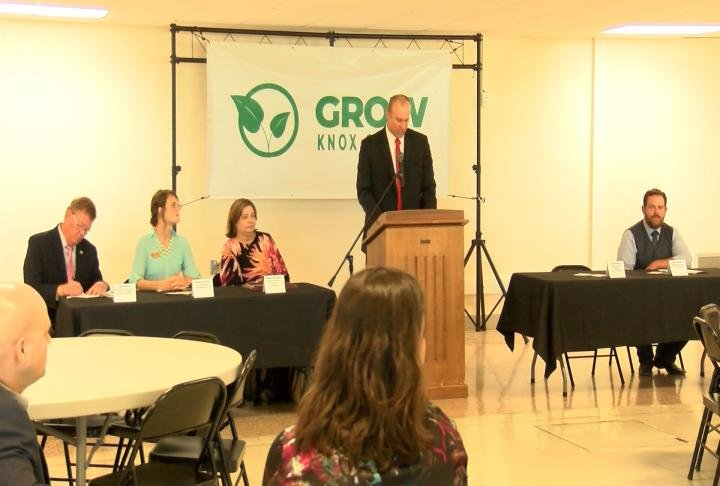 Supporters of a program to grow Knox County's workforce meet at Knox County High School.