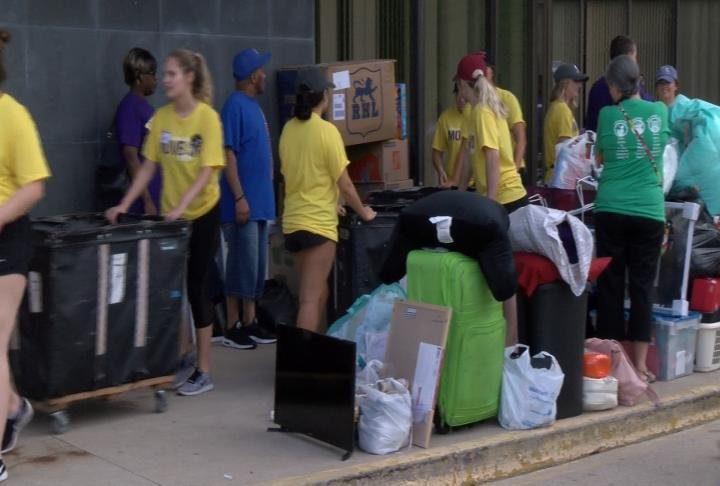 Students moving into their dorms.