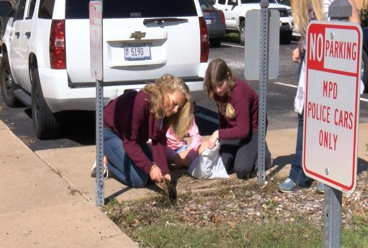 The students worked at the police department and fire station to honor first responders on 9/11.