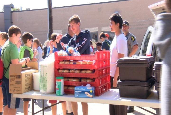 The students served the local first responders lunch.